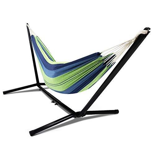 IDMarket - Hamac avec Support métal et Toile rayée Bleue et Verte