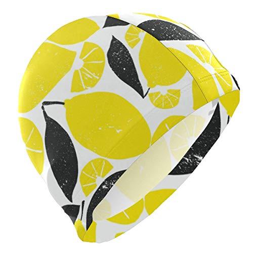 VTYOSQ Cuffia da bagno Fruit Yellow Lemon Cuffia da bagno per Uomini Bambini Adulti Adolescenti Cappello da nuoto Antiscivolo