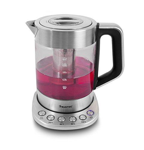 SUNTEC Wasserkocher aus Glas und Edelstahl – mit Temperatureinstellung | Temperaturwahl 70-100 Grad | herausnehmbares Tee Sieb | 1,5 Liter | max 2200 watt | Abschaltautomatik | WAK-8496 tea