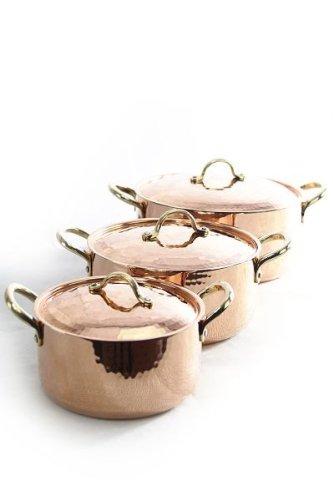 CopperGarden Topfset 3 x Kupfertöpfe mit Deckel lebensmittelecht handverzinnt - schwere Qualität