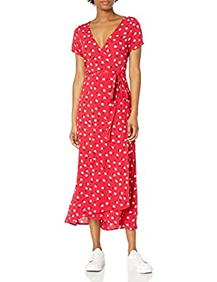 Midi length wrap dress Side Tie allover print easy care fabric woven rayon