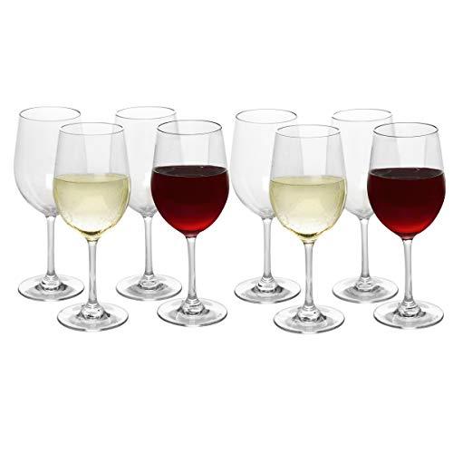 Unbreakable Wine Glasses 12 ounces - Set of 8 - Tritan - Shatterproof, Reusable, Dishwasher Safe Quarantine Wine Glass - Great Mother's Day Gift