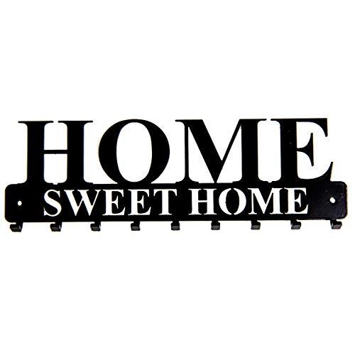 tradeNX Tastiera a muro 'Home Sweet Home' con 9 ganci in acciaio neri - montaggio a parete per...