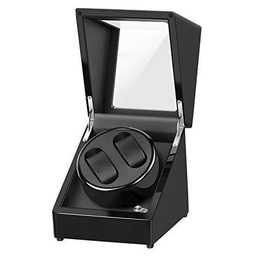 Uhrenbeweger für Automatikuhren,Uhrenbox Watch Winder Mute für 2 Uhren Luxuriöser Uhrendreher Uhrenwender Holz Aufbewahrung Uhrenvitrine mit Glasfenster