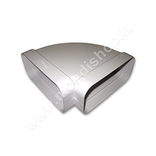 Curva 220x90 mm Per Aerazione Canalizzata per Cappa Cucina Di Tipo Orizzontale. Per Tubo Rettangolare in Pvc Colore Bianco