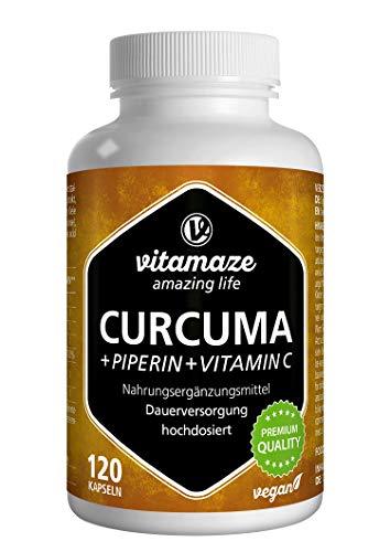Vitamaze® Cúrcuma Cápsulas + Curcumina Piperina + Vitamina C, 120 Cápsulas Veganas Altamente Biodisponible, 95% Natural Pura Extracto Curcumina, Suplemento sin Aditivos Innecesarios