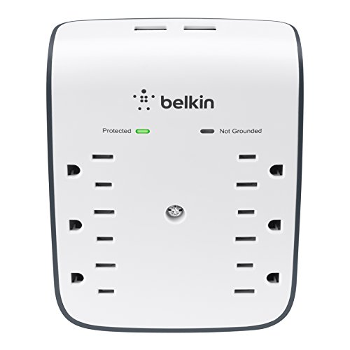 Belkin BSV602tt 6-Outlet USB Surge Protector w/ Wall Mount - Ideal for...