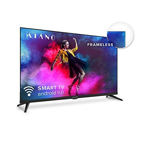 Kiano Elegance TV 32' Pouces Android TV 9.0 [Téléviseur 80 cm Frameless Metal CASING sans Cadre TV 8GB] (HD, Smart TV, Netfilx, Youtube, Facebook) Triple Tuner DVB-T2 T/C/S2, CI, PVR, WiFi