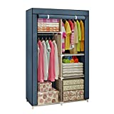Closet Wardrobe, Clothes Storage Organizer with Hanging Rod & Cube Storages, DIY Closet Organizers for Living Room Bedroom (Gray)