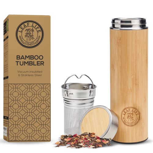LeafLife Premium Bamboo Thermos with Tea Infuser & Strainer-...