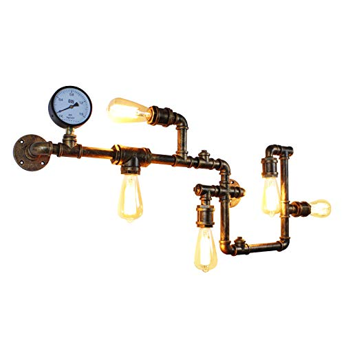 JHLBYL Industrial Wall Light Steampunk Metal Wall Lamp Creative Antique Water Pipe Wall Sconces Retro Country Farm Lighting Fixtures for Home Restaurant Bar Cafe Decoration, Brass