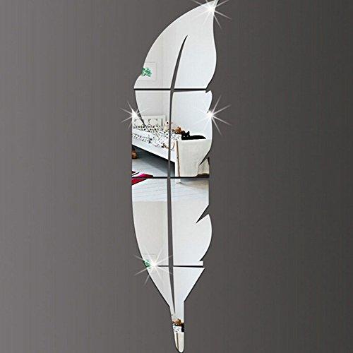 Qaurora moderne DIY Feder-Spiegel-Wand-Aufkleber-Acrylart und weise 3D Hauptabziehbild-Wohnzimmer-Wand-48 x 12 Zoll (120 x 30cm) (Recht)