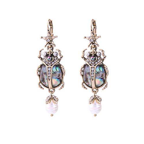 Feximzl Vintage Bug Insect Necklaces Charms Crystal Beetle Abalone ShellStunning Antiqued Gold Scarab Drop Earrings (Earrings)