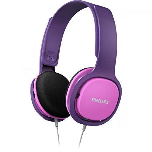 Casque pour enfant Philips SHK2000PK/00 Casque supra-aural pour enfant (isolation phonique, limitation du volume sonore, arceau ergonomique, diaphragme des hauts-parleurs de 32 mm) lila/rose