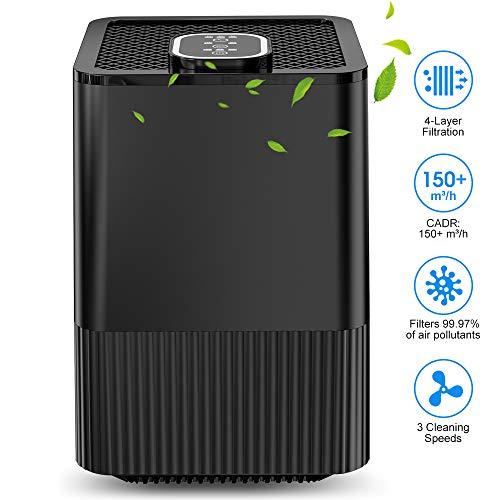 Luftreiniger mit echtem HEPA-Filter und Ionisator, 4-Lagen-Filtration und 3-Timer-Funktion, beseitigt Staub, Rauch, Bakterien, Hautschuppen und Pollen für Zuhause und wohnung