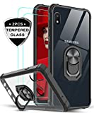 Samsung Galaxy A10E Case (Not Fit A10) with Tempered Glass Screen Protector [2 Pack], LeYi [Military Grade] Clear Crystal Shockproof Phone Case with Magnetic Ring Car Kickstand for Samsung A10E, Black