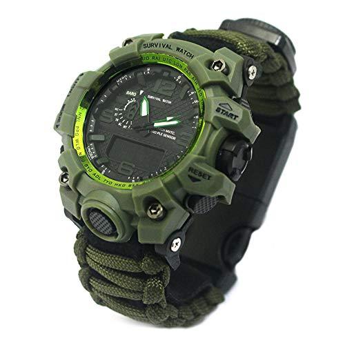 PAGHY Unisex Outdoor Survival Uhr, Sport Dual Bewegung Leuchtend Kompass Regenschirm Seil Camping Wasserdicht Multifunktionsuhr Armeegrün