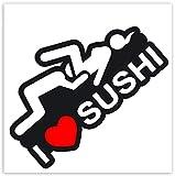 2 x Vinyl Funny Warning Hazard Stickers Sexy I Love Sushi Decals Car Motorcycle Helmet B 90