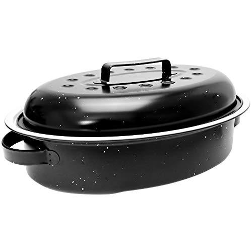 WELLGRO - Rostiera ovale da 3,9 litri, con coperchio, 37 x 26,5 x 14 cm, rivestimento in ceramica, colore: nero/bianco marmorizzato