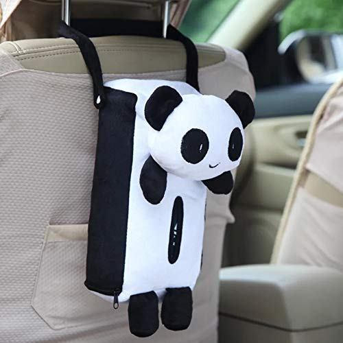 HaaVee Colorful Cute Animal Car Tissue Holder Back Hanging Tissue Box Covers Napkin Paper Towel Box Holder Case Paper Towel Holder (White Panda)