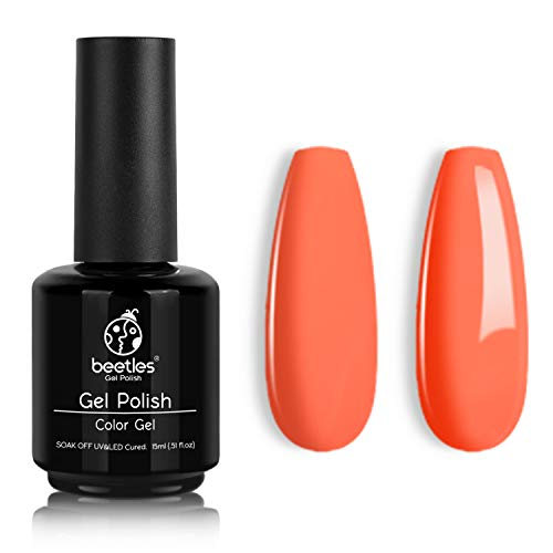 Beetles Gel Nail Polish, 1Pcs 15ml Carly Coral Orange Color Soak Off Gel Polish Neons Spring Summer Color Gel Nail Art Manicure Salon DIY at Home