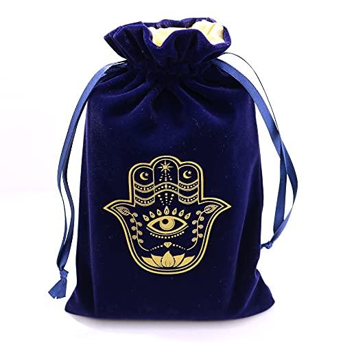 ARTSY CRAFTS 6x9' Hamsa Hand Blue Velvet Jewelry Pouch Gift...