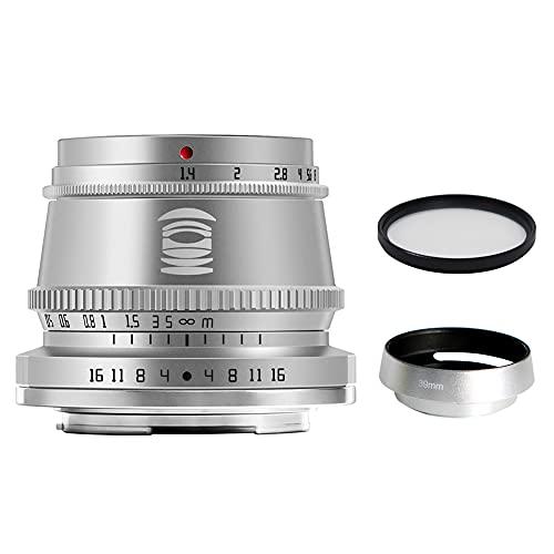 TTArtisan 35mm F1.4 APS-Cフォーマット、大口径、マニュアルフォーカス、固定焦点レンズ、富士フイルムXシリーズカメラに最適、シルバー