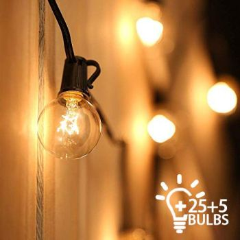 Outdoor String Lights Mains Powered Festoon Lighting 25FT G40 IP44 for Indoor & Outdoor Backyard Patio Cafe Garden Party Decoration Warm White Tomshine (25 Bulbs + 5 Spare Bulbs + 3 Fuse)