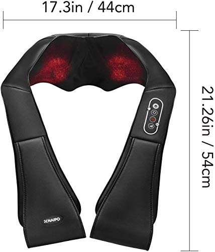 Naipo Shiatsu Back and Neck Massager with Heat Deep Kneading Massage for Neck, Back, Shoulder, Foot and Legs, Use at Home, Car, Office 2