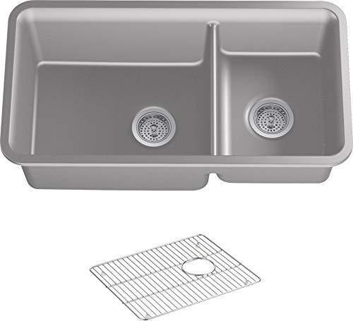 "KOHLER 8204-CM4 Cairn Under-Mount Large/Medium Double-Bowl Kitchen Sink with Basin Rack 33-1/2"" x 18-5/16"" x 9-1/2"" , Matte Grey"