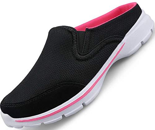 GURGER Zuecos Mules de Mujer Hombre Pantuflas Casa Verano Slippers Slip On Zapatilla de Deporte Sandalias Deportivas Negro Talla 40