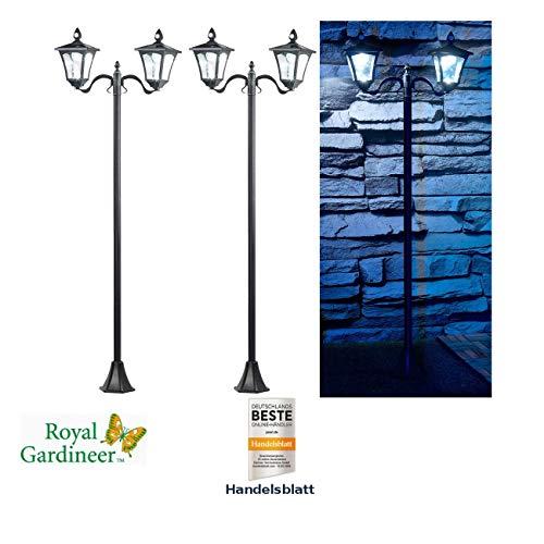 Royal Gardineer Gartenleuchten: 2er-Set Solar-LED-Gartenlaterne, 2 flammig, PIR- & Dämmerungssensor (Solarlampe mit Bewegungsmelder)
