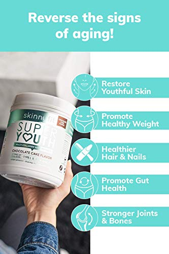SkinnyFit Super Youth Multi-Collagen Peptide Powder Chocolate Cake Flavor, Hair, Skin, Nail, & Joint Support, 58 Servings 6