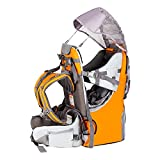 Baby Backpack Carrier, Safe Toddler Hiking Backpack Carrier Camping Child Carriers with Rain Cover Child Kid Sun Shade Large Storage Space Insulated Pocket, Adjustable Padded Child Seat
