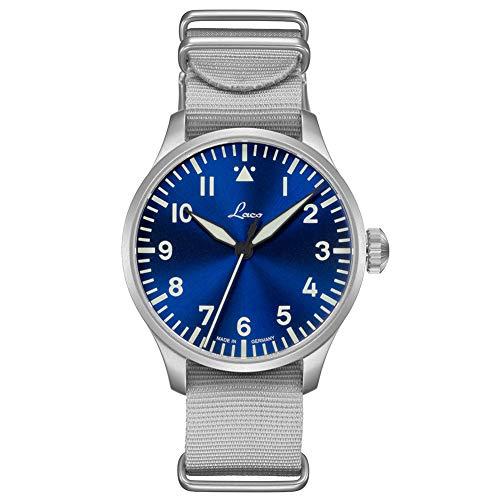 Laco Armbanduhr Fliegeruhr Basis Augsburg, Ø 39mm, hochwertige Automatikuhr, Einzigartige Qualität, 5 ATM Wasserdicht, Zeitloses Design – seit 1925 (Damen, Silber)