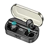 AMINY Wireless Earbuds Bluetooth Headphones 80 Hrs Playtime Bluetooth Earphone IPX7 Waterproof Bluetooth 5.0 Stereo Hi-Fi Sound with Charging Case(Black)