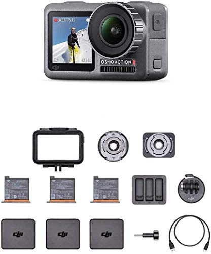 DJI Osmo Action Cam - Camera Digitale con Doppio Display, Resistente all'Acqua fino a 11m, Stabilizzazione Integrata, Foto e Video in 4K HDR a 100 Mbps, Comando Vocale, Kit di Accessori Incluso - Nero