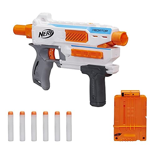 Nerf Modulus Mediator Blaster -- Fires 6 Darts in a Row, Pump Action, Slam Fire, Includes 6-Dart Clip and 6 Official Nerf Elite Darts (Amazon Exclusive)
