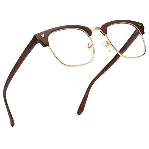 Dawnerix Blue Light Blocking Glasses for Men & Women, Computer Gaming Reading Non-Prescription Eyeglasses Anti Glare & Eyestrain, Transparent Lens and Semi Rimless Square Frame - Wood Grain