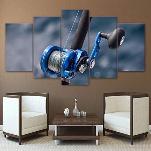 5 Immagini Consecutive Decor Print Canvas Art Canvas Painting Poster Wall Picture 5 Pezzi Canna da Pesca per Soggiorno Wall Art Pittura Moderna Decorazione murale per la casa (Nessuna Cornice)