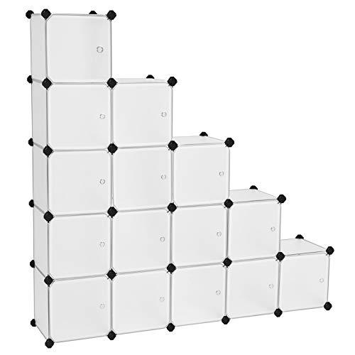 SONGMICS Scaffale Portaoggetti Modulare Fai da Te con 16 Cubi, Mobile in Plastica di qualit,...