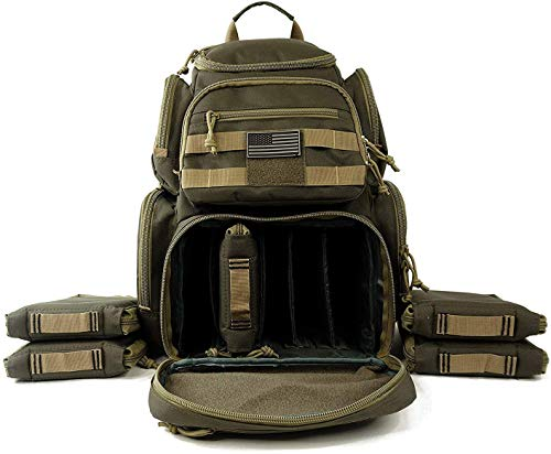 Tactical Range Backpack Military Gear Carries 5 Handguns...