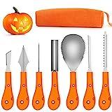 Fenvella Kit Intaglio Zucca Halloween, Strumenti Inossidabile Professionale per Intagliare Zucaa, 7 Pezzi Set di Intagliare Zucca per dulti e Bambini.