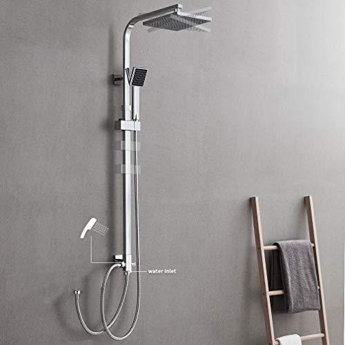 AuraLum 2-Funktionen Quadrat Duschsystem mit Handbrause, Edelstahl Top-Spray Duschset mit Badewanne ohne Wasserhahn, duschgarnitur Chrom Wasserfall Duschen Brauseset Inkl.