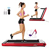 FUNMILY 2 in1 Folding Treadmill, 2.25HP Under Desk Electric Treadmill with Remote Control and Bluetooth Speaker & LCD Monitor, Installation-Free (Red)