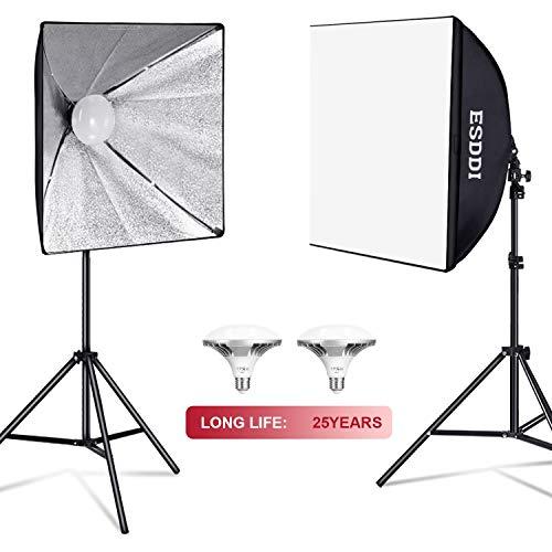 ESDDI Softbox LED 900W Luci Set Fotografico Professionale con 5400K E27 Socket Light, 2 Riflettori...