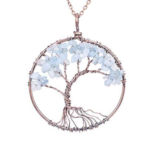 Tumbled Natural Raw Semi Precious Aquamarine Stone Tree of...