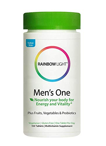 Rainbow Light Mens One Multivitamin for Men, with Vitamin C, Vitamin D, & Zinc for Immune Support, Clinically Proven Absorption of 6 Key Nutrients, Non-GMO, Vegetarian & Gluten Free, 150 Tablets