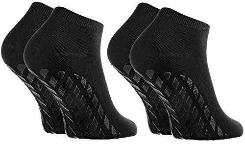 Rainbow Socks - Donna Uomo Calzini Antiscivolo di Bamb - 2 paia - Nero - Tamao 36-38
