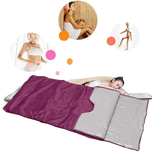 INLOVEARTS Far-Infrared (FIR) Sauna Blanket, 2 Zone Weight Loss Body Shaper Professional Detox Therapy Anti Ageing Beauty Machine (with Remote Control) (Purple) 3
